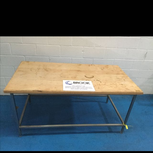 1.8M X 1M WOODEN TOP TABLE ON STAINLESS FRAME