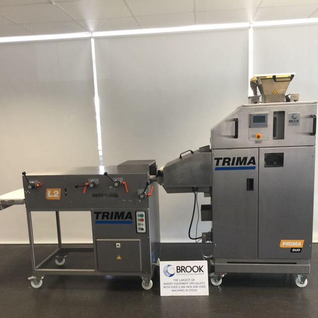 EX TEST BAKERY, 2018 TRIMA 2 PCKET ROLL PLANT, 30-150G WITH PINNER AND FINGER ROLL MOULDER